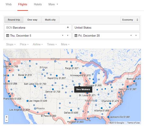 Utilizar el mapa para buscar vuelos con Google