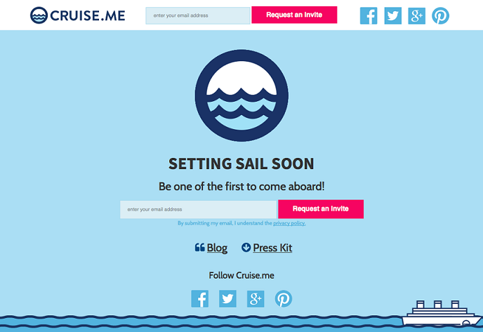 Cruise.me landing page