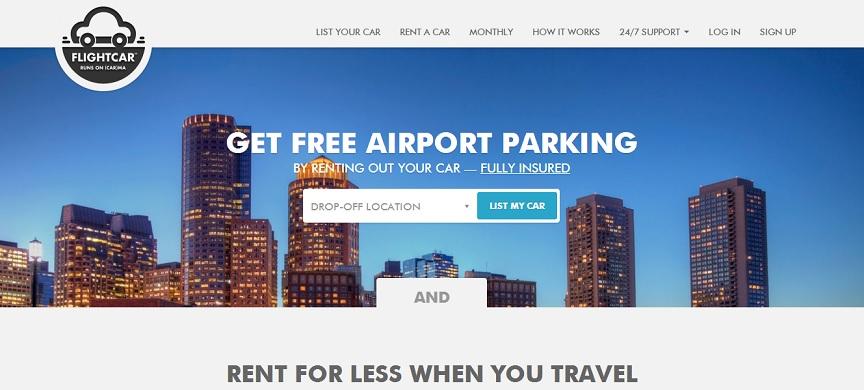 página principal FlightCar