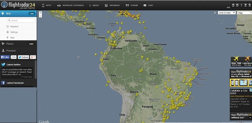 Imagen de flightradar24
