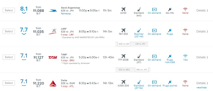 routehappy para buscar pasaje aéreo según preferencias.