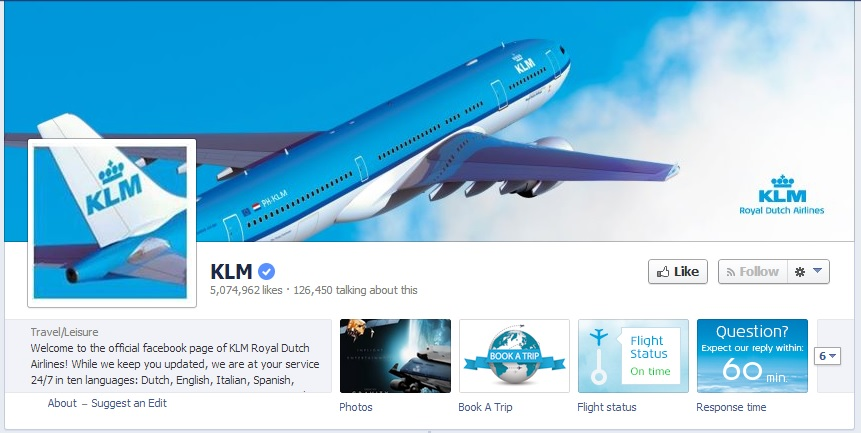 KLM Facebook Page